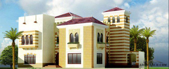 اجمل مجموعه فلل بالمساقط من مسكن العربية نموذج فيلا 7 العثماني House Layouts Villa Design House Styles