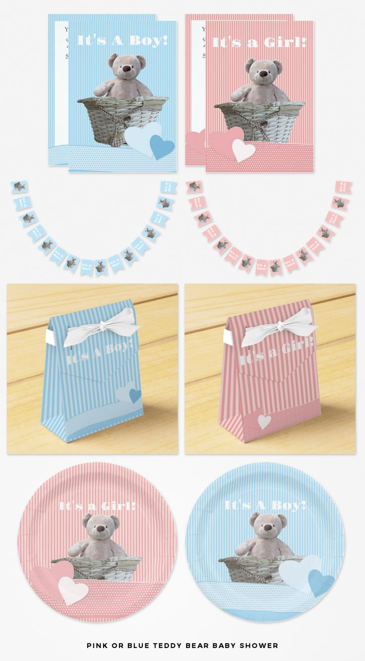 Pink or Blue Teddy Bear Baby Shower