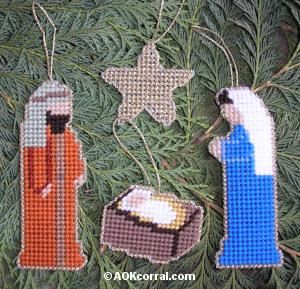 Plastic Canvas Nativity Ornaments - Nativity Christmas Ornament Set