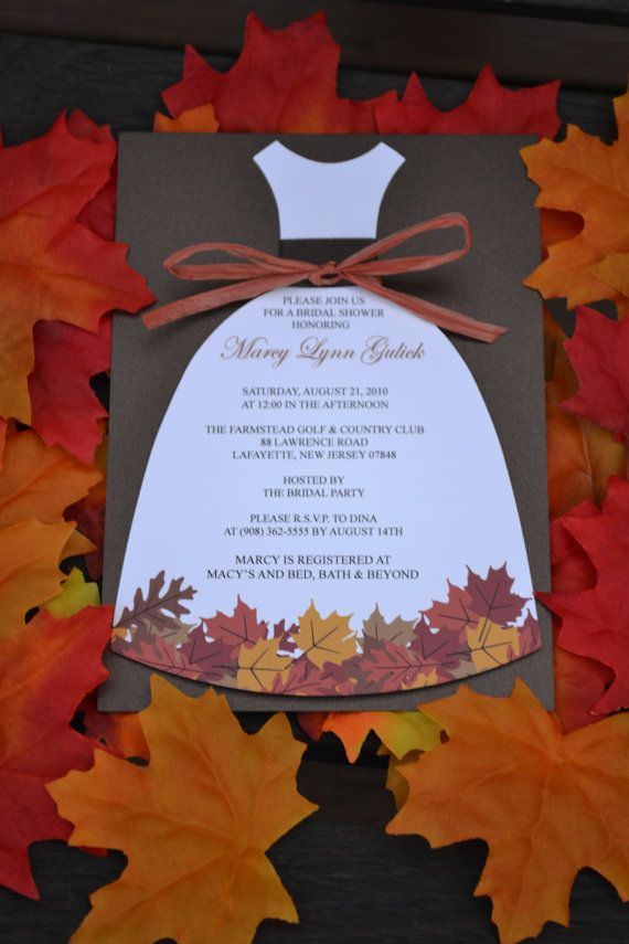 Autumn Love Bridal Shower Dress Invitation by thepaperseamstress, $2.50