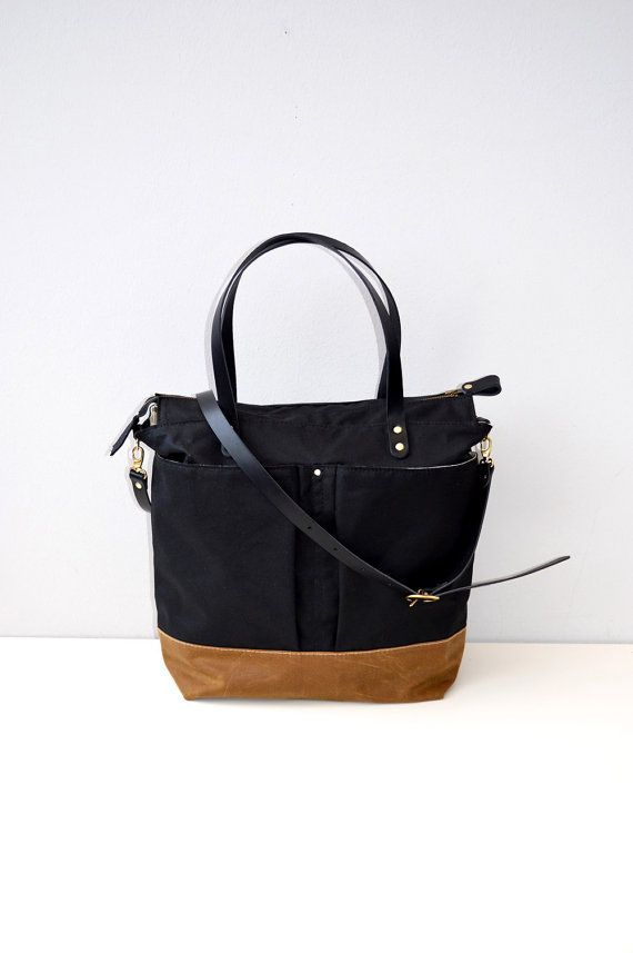 Black & Tan waxed canvas diaper bag  nappy bag by ForestBags, $150.00