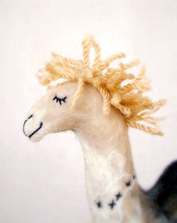 Camila  Felt Camel. Art  Marionette Puppet Felted by TwoSadDonkeys