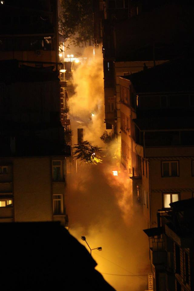 Tear gas rising from the streets of Harbiye, Istanbul. June 15, 2013.