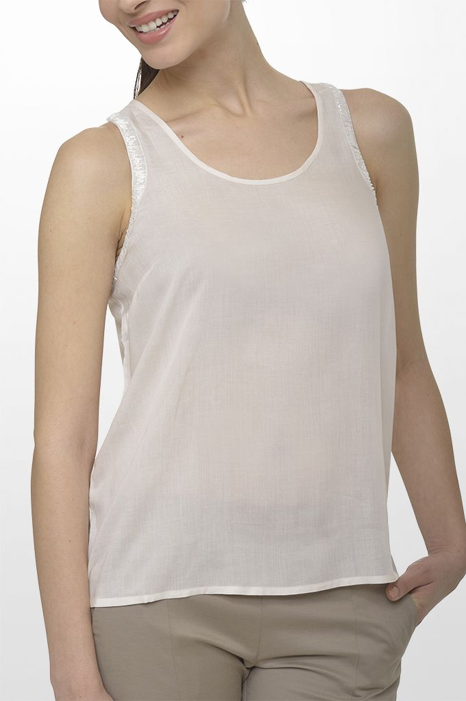 Sarah Lawrence - sleeveless top with beading, city straight leg pant.