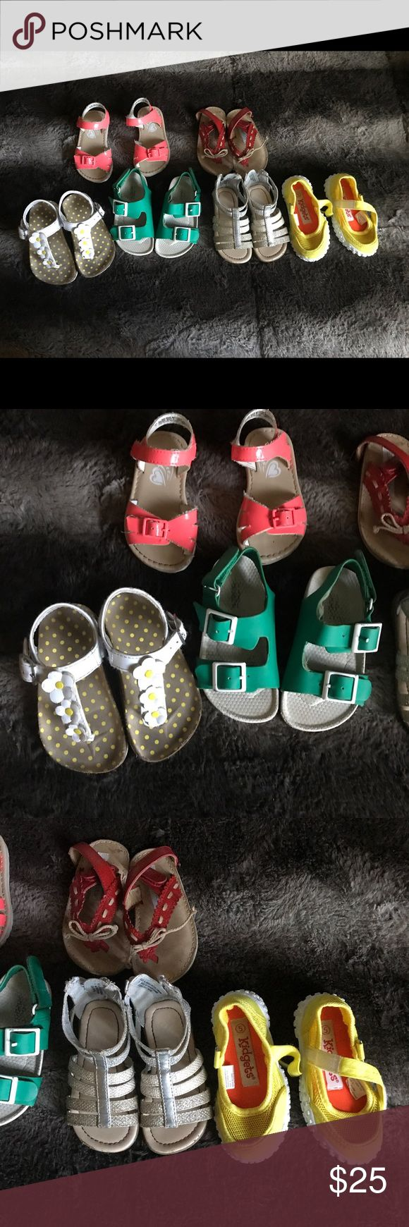 Baby Girl shoe Lot 6 pair of sandals all are in Pre owned condition some in better green Zara one need to be tacked down the lining is loose easy Fix with glue but not really a factor when wearing them all size 5 some can use a wipe down Shoes Sandals & Flip Flops