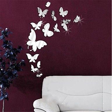 stickers murali specchio adesivi murali, 14pcs diy Adesivi da parete specchio farfalla acriliche – EUR € 9.49