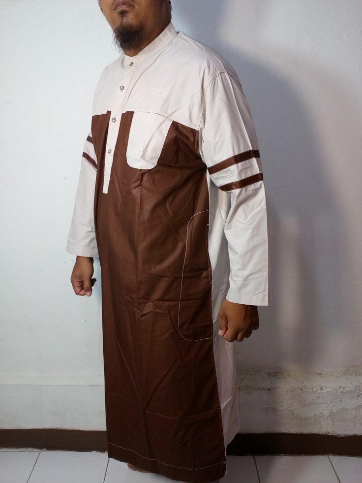 Baju Kurung Laki-Baju Gamis Atas Mata Kaki-Baju Jubah Pria Warna Coklat-Putih Lengan Garis-Baju Muslim Samase
