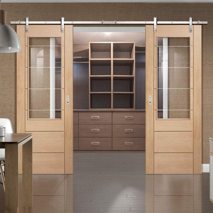 Thruslide Traditional Palermo Oak 2XG Sliding Double Door - Clear Etched Safety Glass - Lifestyle Image.    #slidingdoors #barnstyledoors