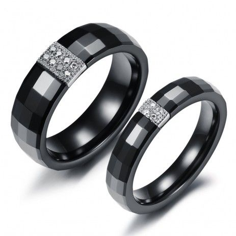 3995 top black ceramic cz inlaid couple rings - Black Wedding Rings For Him And Her
