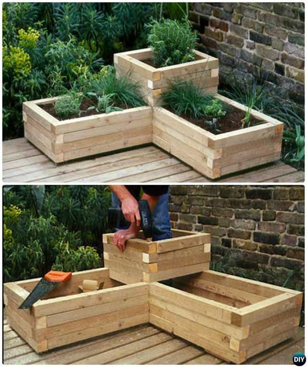 DIY wood raised garden bed for patio corner.