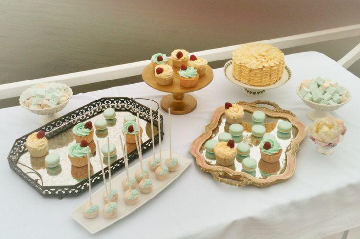 mint peach shabby chic wedding dessert table, cake pops, macarons, cupcakes, cake, marshmallow  #aidinabakeacake, сладкий стол на заказ, Москва, шебби шик, мятный и персиковый