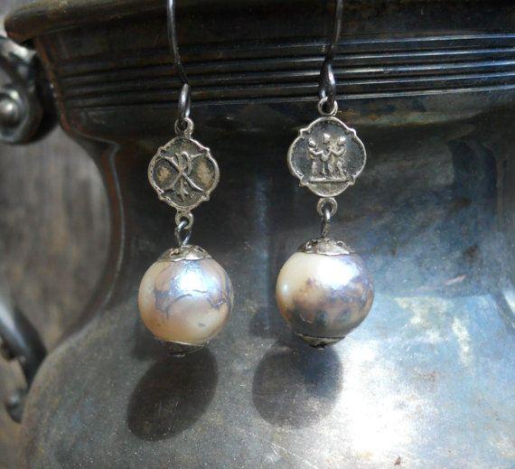 Little Blessings   Vintage Assemblage Earrings by HappyMoonDesigns, $105.00