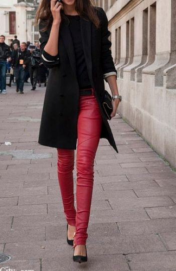 Red leather pants and the over-the-hips blazer elevates the look to another level.
