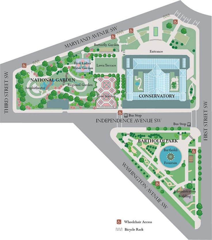 A Map of the Gardens at the US Botanic Garden.