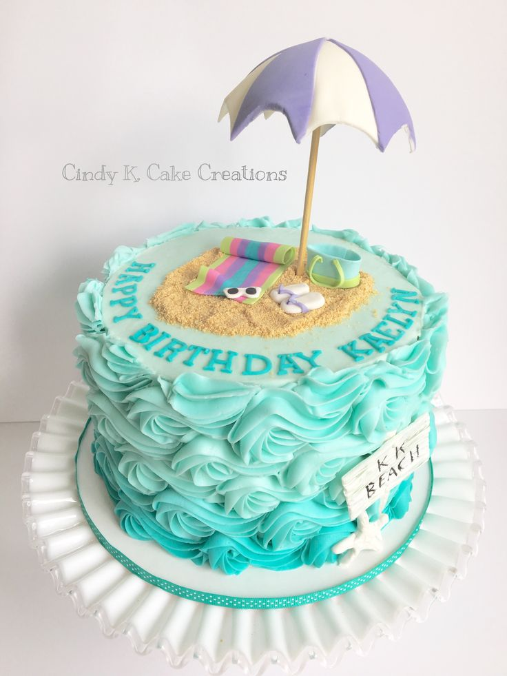 Buttercream waves beach cake Made by: Cindy K. Cake Creations