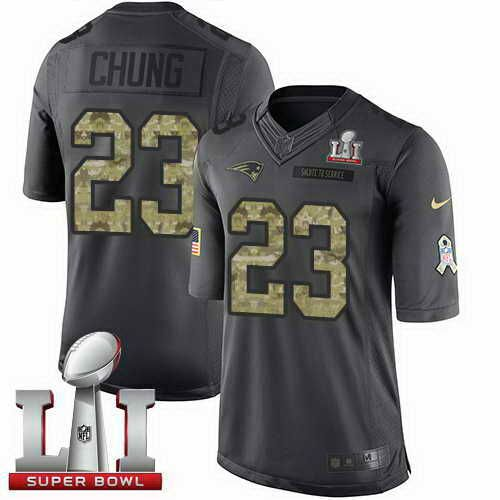 Men's Patriots #23 Patrick Chung Black Super Bowl LI 51 Stitched NFL Limited 2016 Salute To Service Jersey