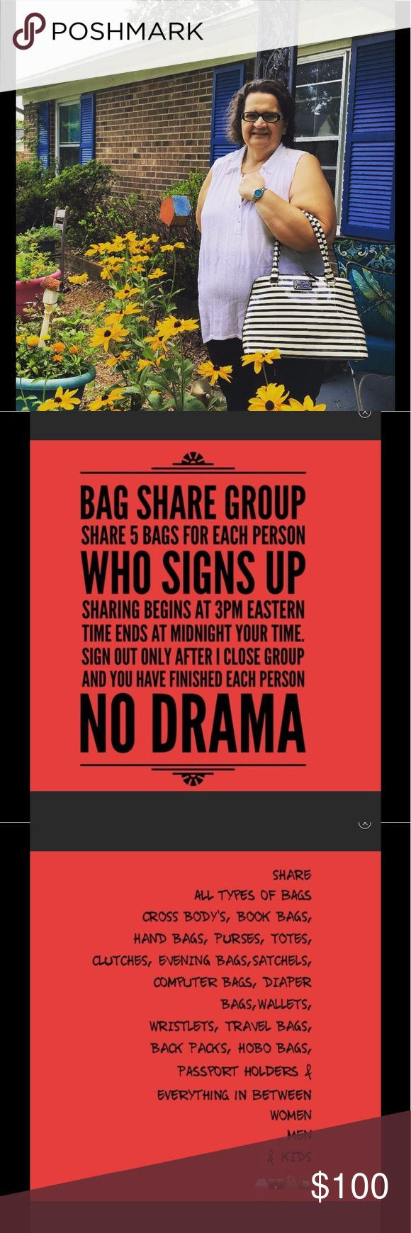Thursday Bag Share Group Put username in comments section. Sharing is from 3pm eastern time zone till midnight your time. Share 5 items per person who signs up. Sign out only AFTER I have closed and you have completed your shares. Thanks and HAPPY SELLS 👛👛👛👛👛 kate spade Bags Hobos