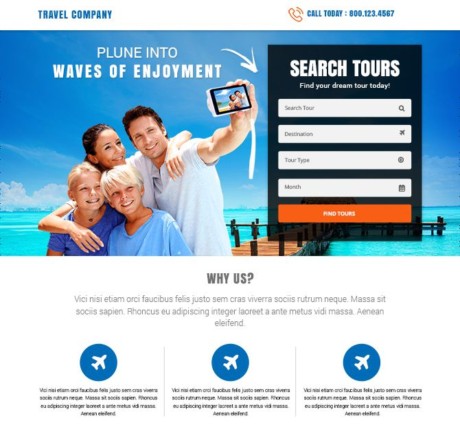 best tours and travel landing pages
