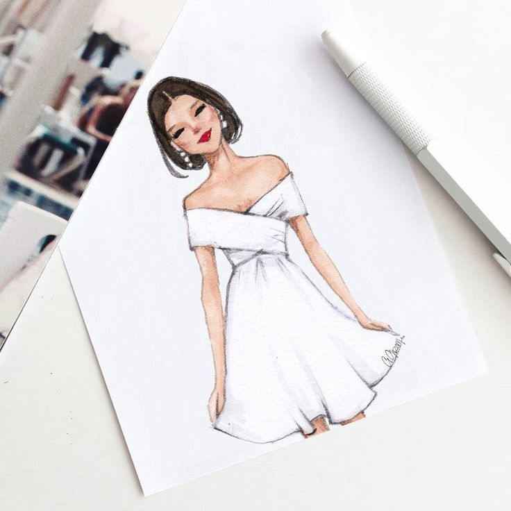 Girl In White Coctail Dress Illustration Fashion Design Dress Design Sketches Fashion Design Sketchbook