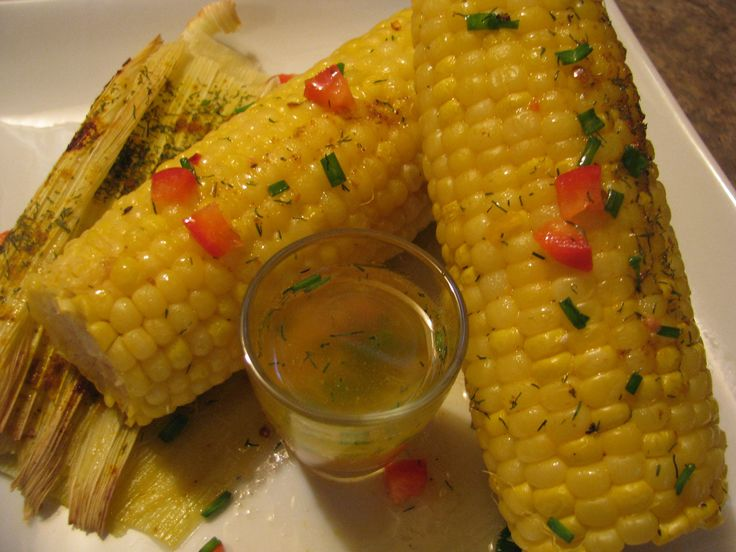 Oven baked organic corn with curried orange & dill coconut oil drizzle and sea salt flakes.  lotusrawveganliving*