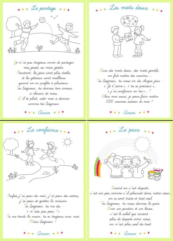 Cartes prières pour les enfants, à colorier. Disponibles dans le journal gratuit pour l'éveil à la foi édité par le diocèse de Lyon. A télécharger ici: http://initiationchretienne-lyon.cef.fr/IMG/pdf/CPV_n4_Fin.pdf