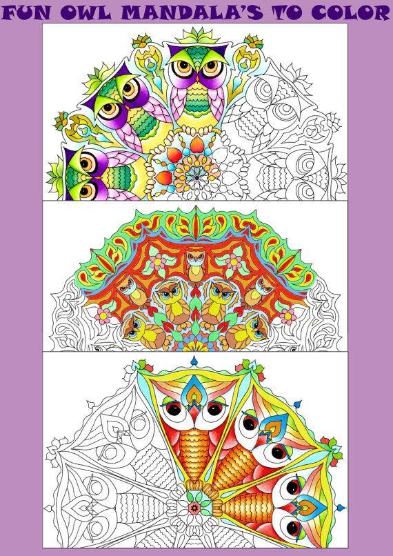 3 Hand Drawn Fun Owl Mandala Printable Adult Colouring
