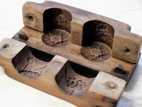 Japanese Antique Cylindrical Kashigata Lotus Flower Hand Carved Wooden Cake Mold | eBay