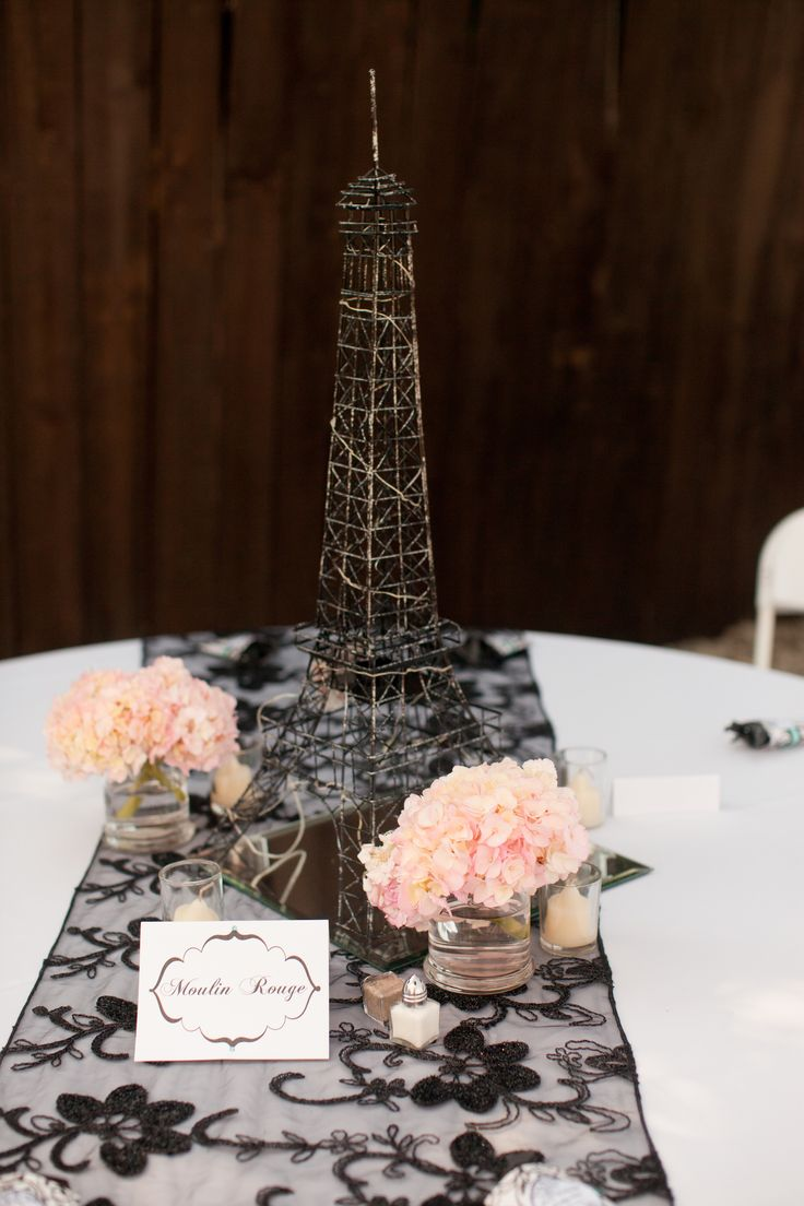 Paris theme Eiffel Tower center pieces