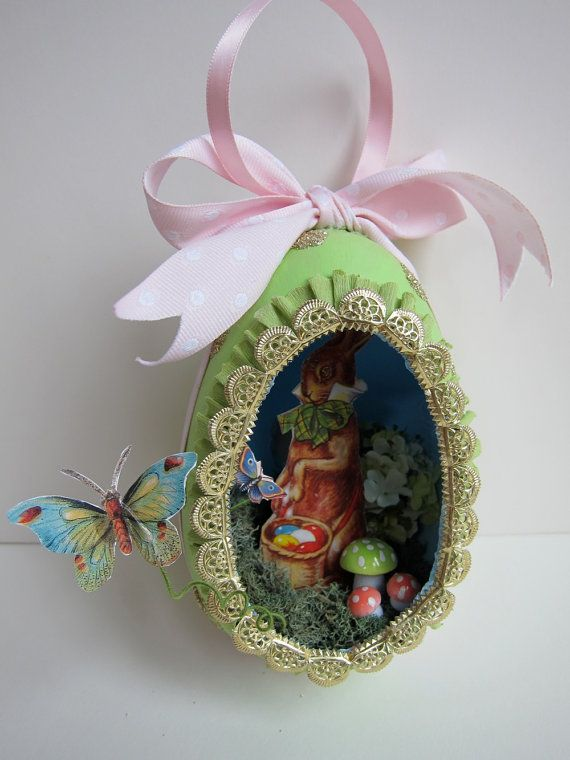 OOAK Easter Egg Diorama Ornament - Vintage Style Papier Mache - Panorama Shadowbox - Sugar Egg Keepsake Decor