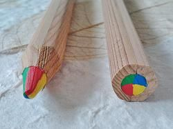 Thick Rainbow Pencil made with sustainable timber.