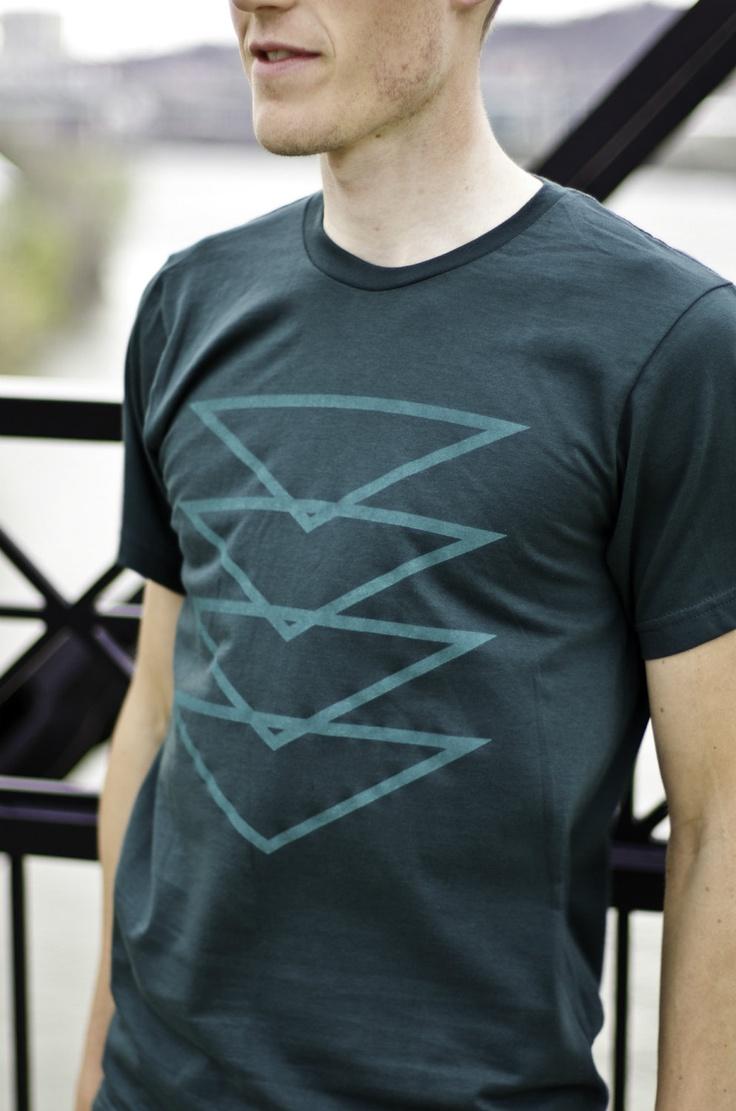 T3 Topaz T-Shirt, Forest Green Men's Tshirt, Screenprinted Geometric Triangle Design. $24.00, via Etsy.