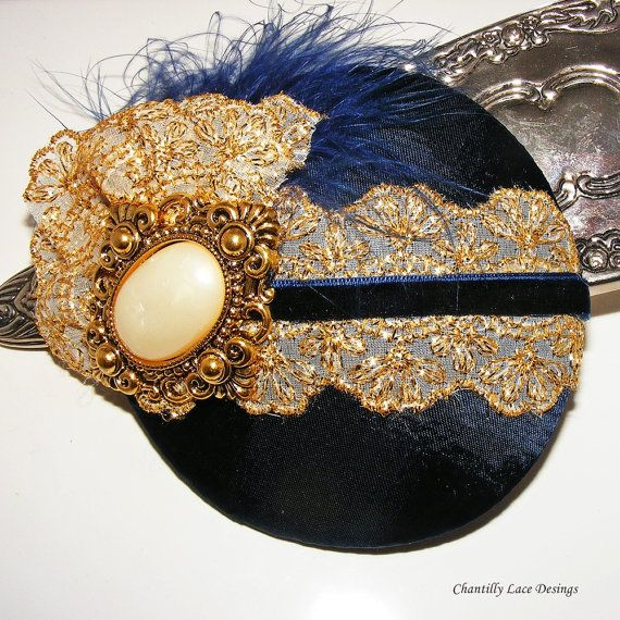 Regal Elegance Navy and Gold Cocktail Hat fascinator www.chantillylacedesigns.com in Canada
