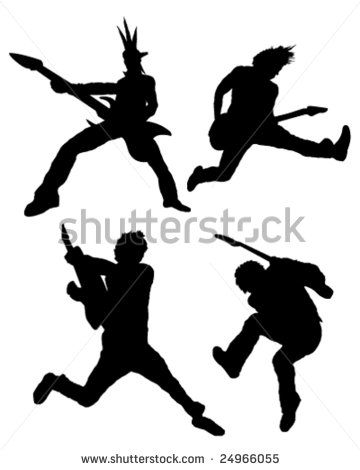 Rock guitar player silhouettes - stock vector | graphics ...