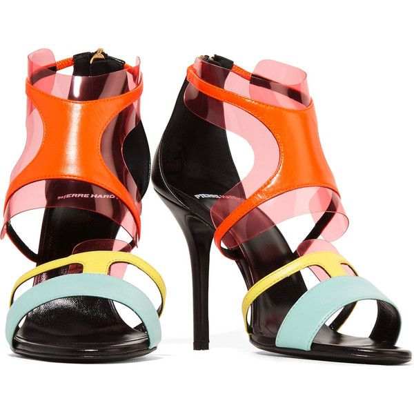 Pierre Hardy PVC-trimmed neon leather sandals (£264) ❤ liked on Polyvore featuring shoes, sandals, strap sandals, leather sandals, zipper sandals, neon high heel sandals and strap shoes