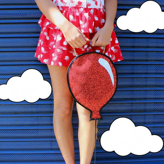 Red Glitter Balloon Clutch Handbag by LunaontheMoon on Etsy