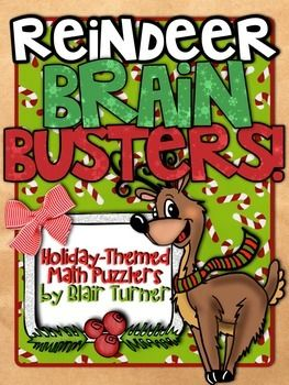 FREE. These 4 challenging Christmas-themed math puzzlers are sure to be a hit with your students! Students will need to think flexibly about numbers and their relationships in order to solve these logic problems. Answer keys are included as well! I hope you enjoy using these free puzzles in your classroom! Great for our older special learners. Download this FREEBIE at: https://www.teacherspayteachers.com/Product/FREE-Christmas-Reindeer-Brain-Busters-1599904