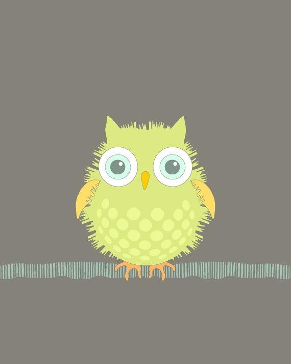 Owl print baby room art nursery bird earth tones by KristinParsons, $16.00