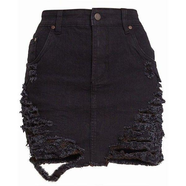 Black Super Shred Denim Mini Skirt (46 AUD) ❤ liked on Polyvore featuring skirts, mini skirts, bottoms, short skirts, denim mini skirt, mini skirt, short denim skirts and denim miniskirt