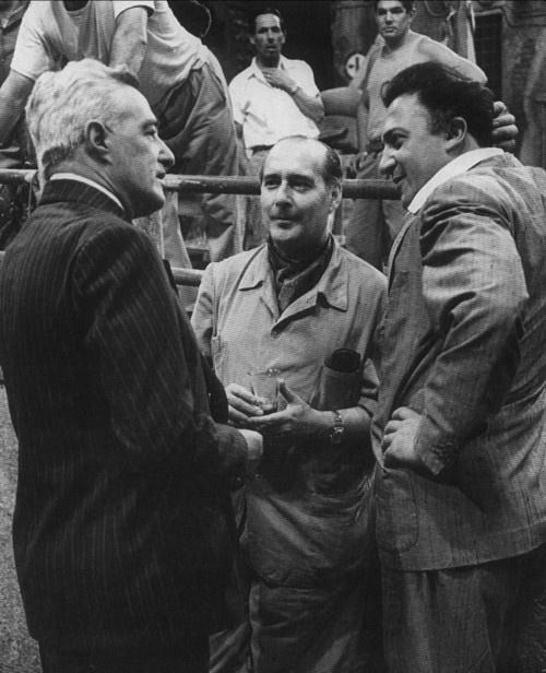 Vittorio De Sica, Roberto Rossellini and Federico Fellini.El trío mas mentado