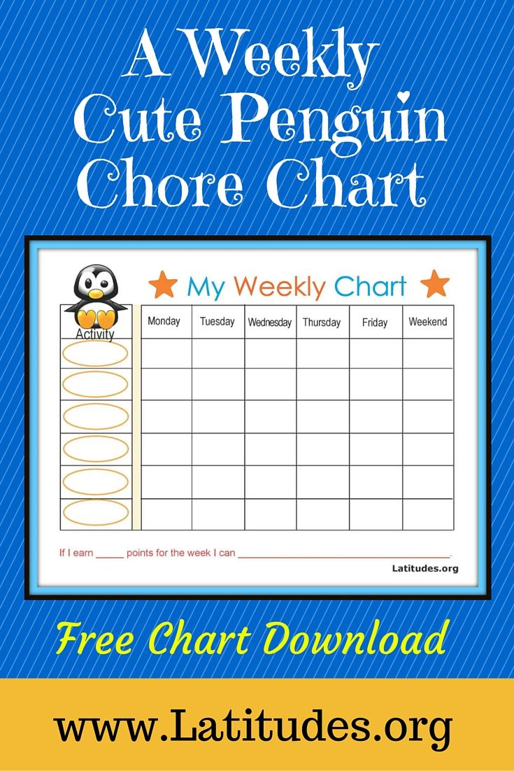 Free Printables on Weekly Behavior Chart Baby Penguin