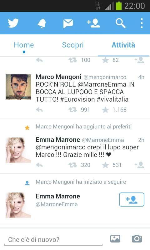 5 maggio... Marco fa l'in bocca al lupo a Emma per l'avventura che l'anno scorso era sua. Viene annunciata la sua presenza sul palco dei Music Awards il 3 giugno e appare un breve filmato su Twitter in cui pubblicizza il singolo di Syria.