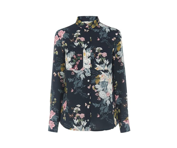 Oasis, Bluse mit botanischer Blumenstrauß-Zeichnung Multi-blau 0