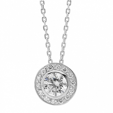 Silver and Some - Georgini Necklace, White CZ Round Pendant.   White CZ Round Pendant This lovely pendent is set with high quality clear CZ stones, is 12 mm in diameter and comes with a 46cm sterling silver chain.