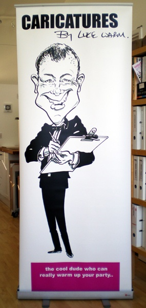 B caricature printed on roller banner | www.caricaturesbylukewarm.co.uk