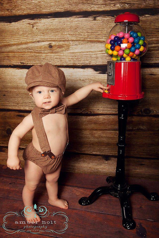 For Mister's 1-Year photo shoot:  Arthur Newsboy Set.  Diaper Cover, Suspenders, Bow tie, and Newsboy Hat.  OMG.