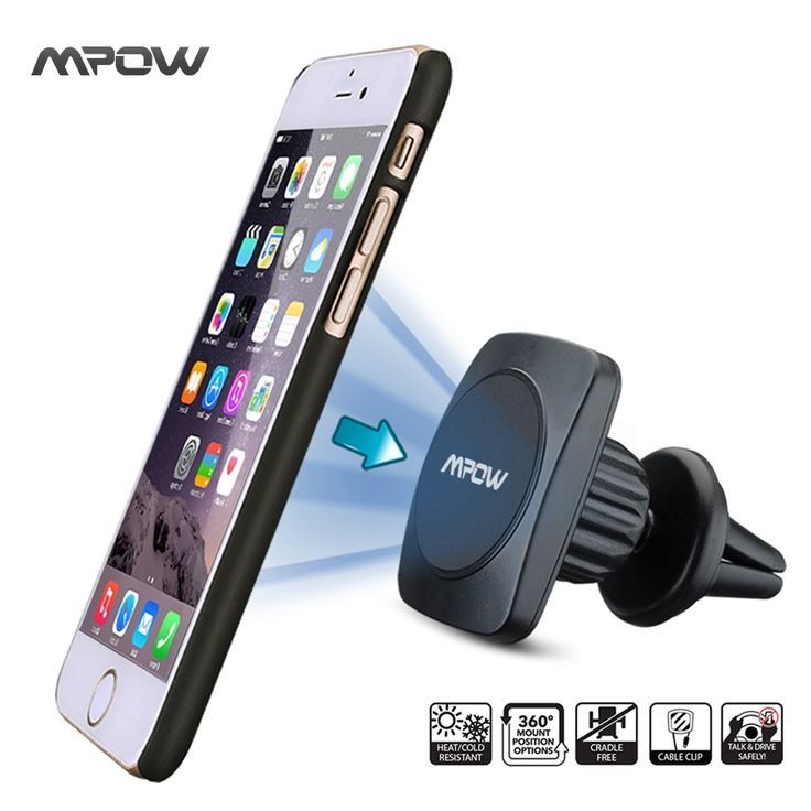Mpow MCM11 Universal Car 360 Degree Swivel Magnetic Air Vent Mount Clip Holder Dock For iPhone Samsung Cell Phone Tablet GPS