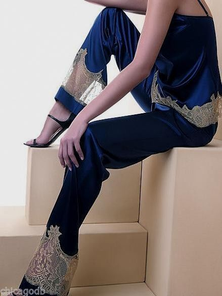 "Lise Charmel ""Recital Bleu"" Silk Lounge Pant and Silk Cami...Katerina's Closets - eBay Shop"