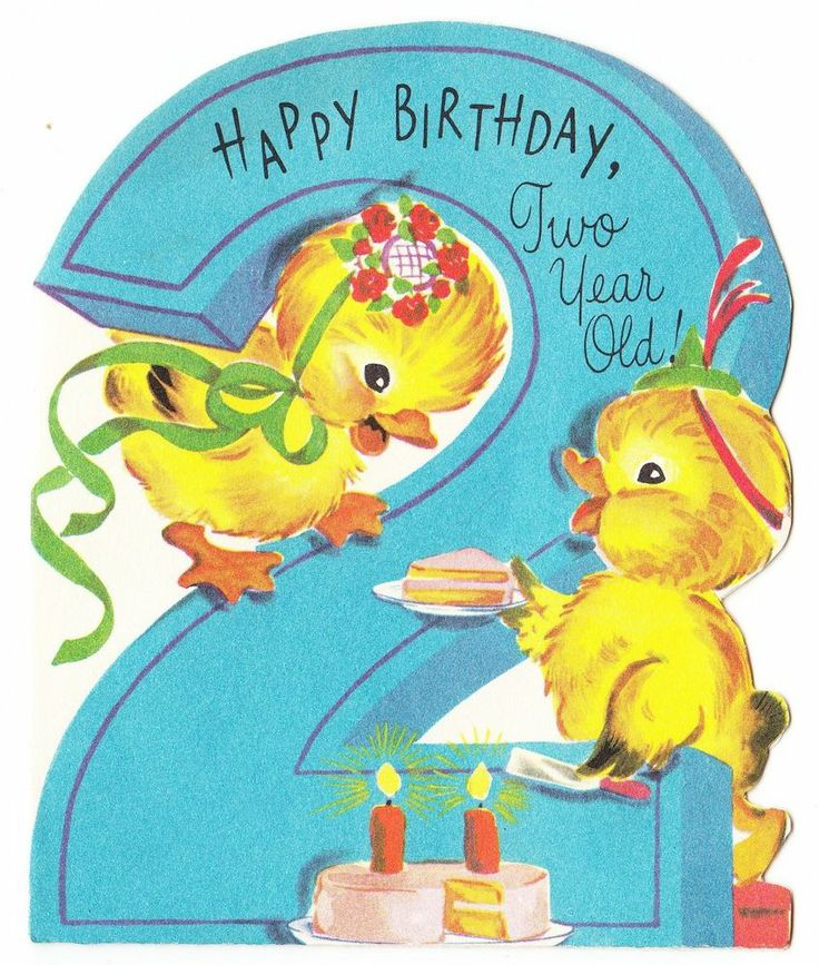 Vintage Baby Ducks With Cake 2 Year