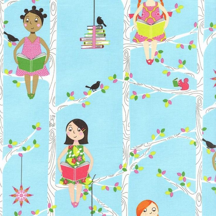 """Michael Miller Fabrics, """"Quiet Time"""",  Reading in a tree in Aqua, yard by MyHeartandSew on Etsy https://www.etsy.com/listing/180766747/michael-miller-fabrics-quiet-time"""