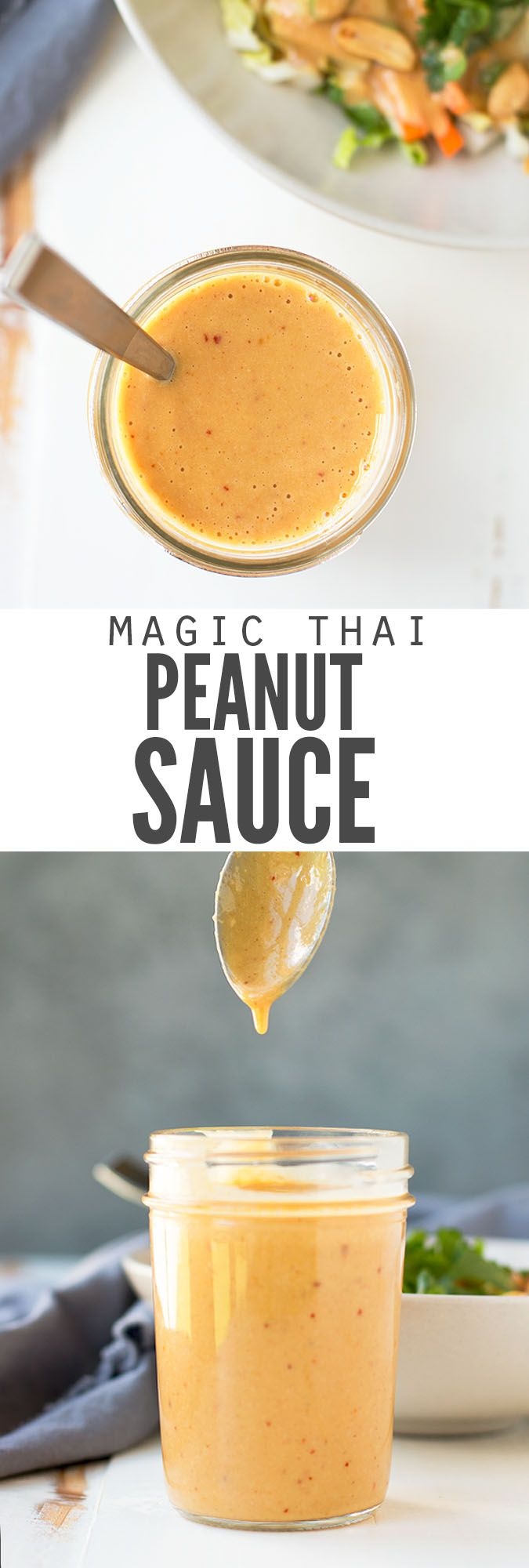 Ridiculously easy thai peanut sauce recipe that's slightly spicy, made in the blender and doubles as a dressing. Add to stir-fry, noodles, salads and satay! :: DontWastetheCrumbs.com